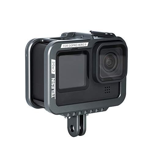 TELESIN Custodia in Alluminio per GoPro Hero 9 Black,Orizzontale e Verticale Custodia Protettiva Telaio con Fibbia a Sgancio Rapido e Vite per GoPro Hero 9