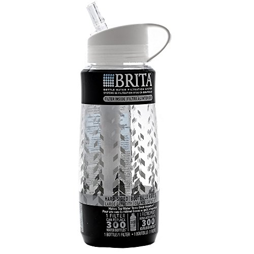 Brita Hard Sided Water Filter Bottle, Chevron, 34 Ounce