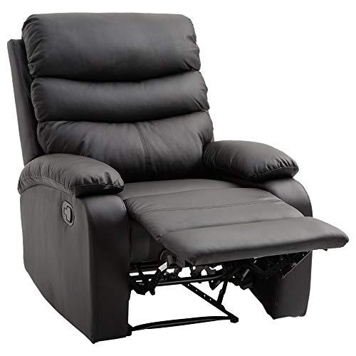 homcom Poltrona Relax Reclinabile con Poggiapiedi Ecopelle 82 × 97 × 100cm Nero