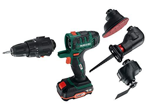 Trapano avvitatore a batteria 4 in 1, cordless (trapano, smerigliatrice, sega a sciabola e dispositivo multifunzione)