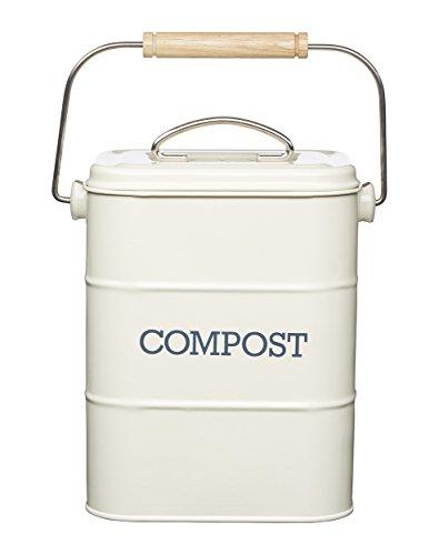 Kitchen Craft Living Bac à Compost Nostalgique de 3 litres en Acier Inoxydable, Aspect Antique, Beige (Crème)