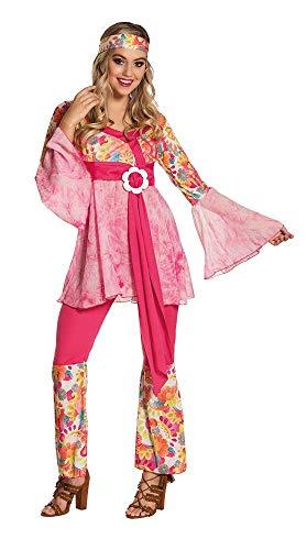 Boland- Hippie Figlia dei Fiori Happy Diva Costume Donna per Adulti, Rosa, M (40/42), 83517