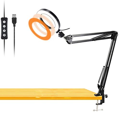 Workbench Light, Desk Ring Light with Swivel Clamp Arm,6'' USB Ring Light for...