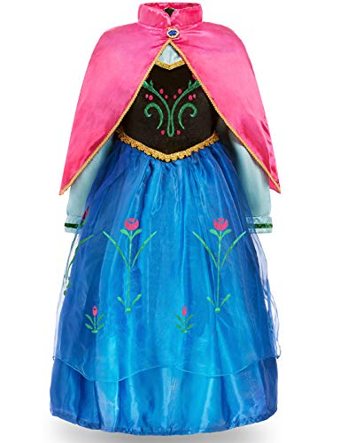 FUNNA Princess Costume for Toddler Girls Fancy Dress Party, Blue, 6