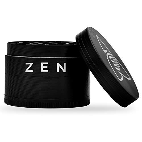 Zen Vaporizers Grinder, Molinillo de Metal para Hierbas, Especias y Frutos Secos con Tapa Magnética, Colector y Raspador de Polen, 5cm x 4cm, Negro (4 Piezas)