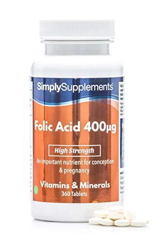 Ácido Fólico (Vitamina B9) 400mcg - ¡Bote para 1 año! - Apto para veganos - 360...