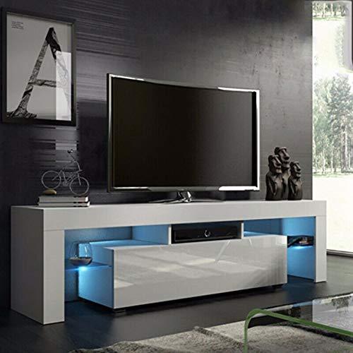 138x45x14cm Mobile TV Con LED, Mobile Porta TV Moderno con LED e Cassetto, Supporto da tavolo TV,...