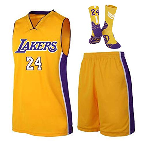 GBYN Los Angeles Lakers # 24 Kobe Bryant Pallacanestro Uniforme T-Shirt a Maniche Corte per Adulti e Bambini (Top + Pantaloni + Calzini), Maglie a Caldo stampaggio per uo Yellow-L
