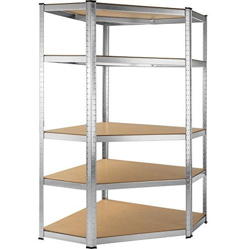 TecTake Scaffale da officina armadio magazzino garage - modelli differenti - (Scaffale angolare 5 ripiani | No. 402504)