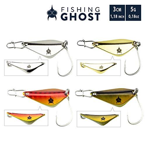 FISHINGGHOST Set di cucchiai Stanza 5gr, 3cm - Cucchiaio per la Pesca di trote di Lago, Trota di Mare, Walleye, luccio - Forma Unica (4 Colori con 1 moschettone ciascuno)