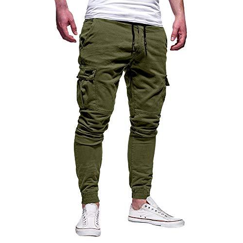 Jeans Slim Uomo Pantaloni Moda Sportivo Colore Solido Benda Tempo Libero Sciolto Sportivi Pantaloni con Coulisse, Celucke