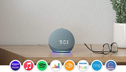 Nuovo Echo Dot (4 generazione) - Altoparlante intelligente con orologio e Alexa - Ceruleo