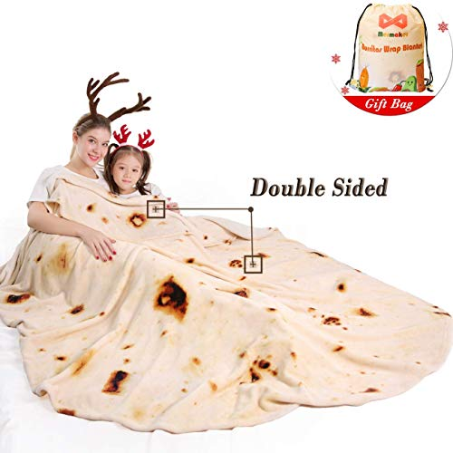 mermaker Burritos Blanket 2.0 Double Sided for Adult and Kids, Novelty Tortilla Throw Blanket Adult 80 inches, Realistic Soft Flannel Taco Blanket (Yellow Blanket-4)
