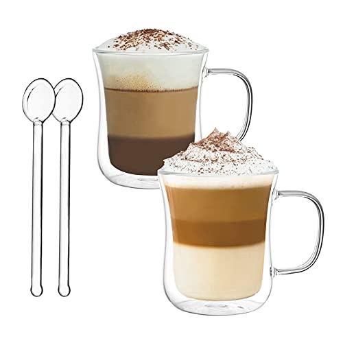 Joeyan Bicchieri a Doppia Parete Set di 2-120ml Bicchieri Termici da caffè con Manico - Tazza in Vetro Borosilicato per Espresso, Latte, Cappuccino, Succo, tè, Acqua - Gratuito 2 Cucchiai