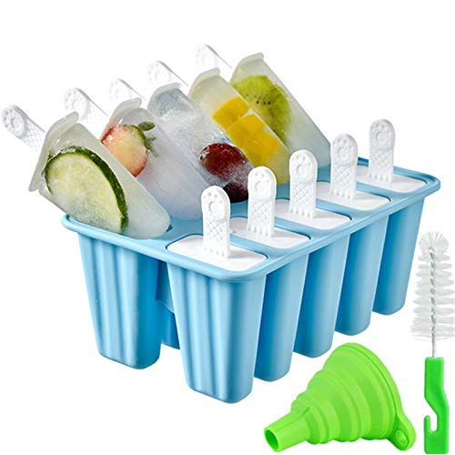 Popsicle Molds,Popsicle Mold 10 Pieces Silicone Ice Pop Mold Popsicle Easy Release (10 Cavities, Light Blue)