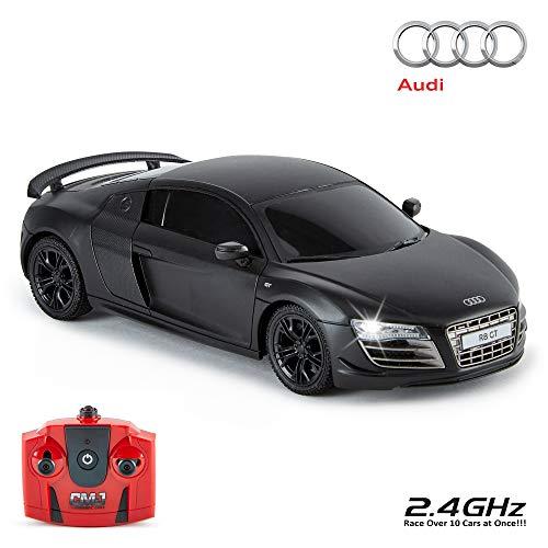 CMJ RC Cars ™ Audi R8 GT Offiziell Lizenziertes ferngesteuertes Auto im Maßstab 1:24 Arbeitsscheinwerfer 2,4 GHz Mattschwarz