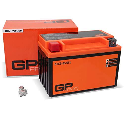 GP-PRO GTX9-BS 12V 9Ah GEL-Batterie (Ähnlich YTX9-BS / 50812) (Wartungsfrei & Versiegelt) Akkumulator Motorrad Roller Motorradbatterie Rollerbatterie