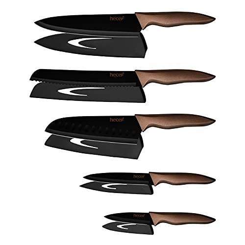 Hecef 5 Pezzi Set di Coltelli da Cucina Professionali Chef,Set Coltelli da Cucina in Acciaio Inox con Rivestimento Antiaderente Nero,Include Alta qualit 8''Coltello da Cucina, 7''Coltello Santoku