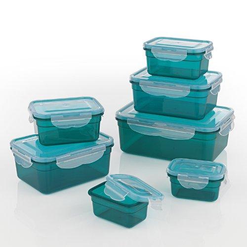 GOURMETmaxx Set di contenitori per Alimenti (Senza BPA, Set da 7 Verde Smeraldo)