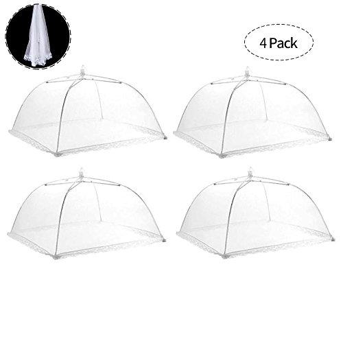 4 Stück Fliegenhaube Faltbar Speiseschirm Lebensmittel Abdeckung Zelt für Zuhause und Draußen Insektenschutzhaube, Weiß 42 x 42 x 25 cm