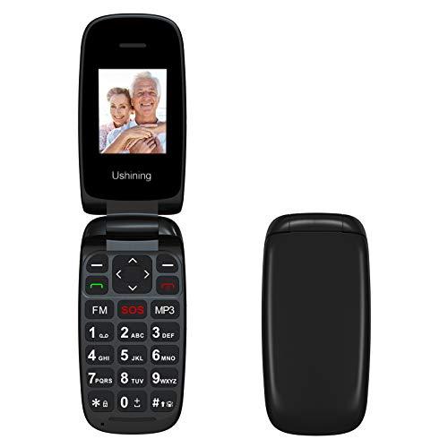 Ushining Téléphone Portable Débloqué avec Grandes Touches, Téléphone Portable à Clapet, Téléphone Portable Faciles à Utiliser pour Personnes Âgées avec Bouton SOS, Radio FM, Caméra - Noir
