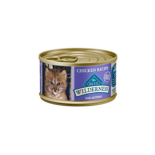 Blue Buffalo Wilderness High Protein Grain Free, Natural Kitten Pate Wet Cat Food, Chicken 3-oz cans (Pack of 24)