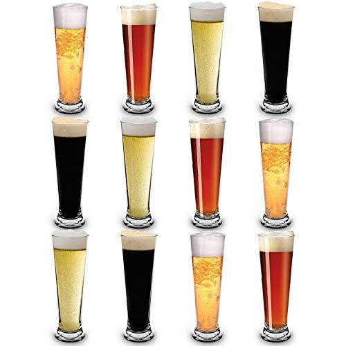 RB Bicchieri da Birra Pilsner Nucleato Plastica Premium Infrangibile Riutilizzabile 25cl, Set di 12