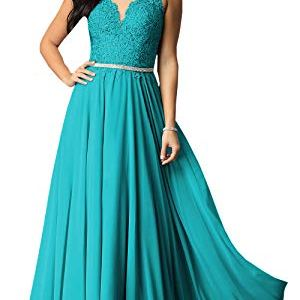 Womens-A-Line-V-Neck-Lace-Bodice-Chiffon-Prom-Dresses-Long-Formal-Evening-Gown