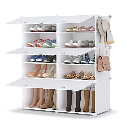 Shoe Rack, 5 Tier Shoe Storage Cabinet 20 Pair Plastic Shoe...