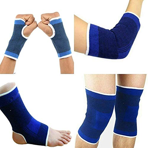 MARK AMPLE® Combo of Palm Gloves + Knee Support + Elbow Support + Ankle Support | 4 in 1 Pack