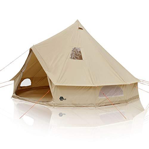 your GEAR Tente de Camping Desert 8 Personnes tipi Hauteur Libre Tente familiale en Coton avec Tapis de Sol Cousu et Protection UV50+