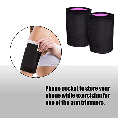 Arm Trimmers for Weight Loss - Arm Slimmers for Women & Men Pair Sauna Sleeves Wraps Sweat Arm Bands Neoprene Compression Workout Fat Burning Sudatory Black (M) 4