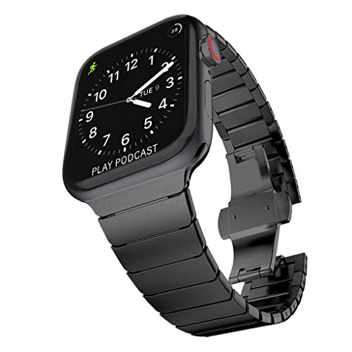 Surace Stainless Steel Link Bracelet Replacement for Apple Watch Band 44mm Series 4 Series 5 with Butterfly Folding Clasp Compatible for Apple Watch 42mm (Black)