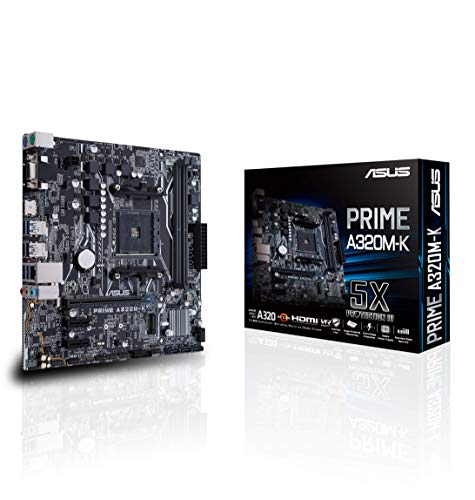 ASUS PRIME A320M-K - Placa Base AMD AM4 mATX con iluminación LED,...
