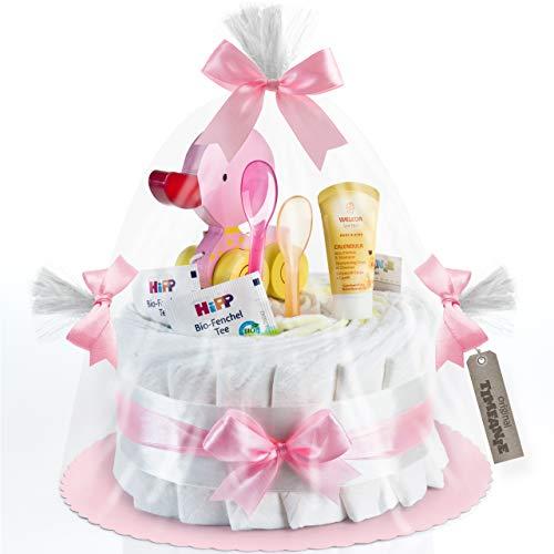 Timfanie® Windeltorte | Ziehente | 1-stöckig | zart-rosa | Windeln Gr. 2 (Baby 4-8 Kg)
