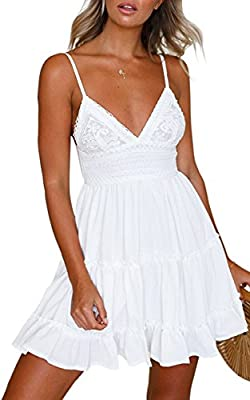 Material: Our Women Dress is made of Polyester & Cotton. Soft material, light and comfortable, a must-have dress in your wardrobe. Design: Spaghetti straps, boho fashion, sexy deep v neck and backless, bow tie at back, lace floral pattern, a-line sty...