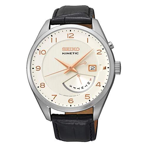 Seiko Kinetic Herren-Uhr Edelstahl mit Lederband SRN049P1