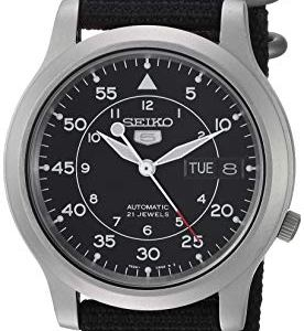 SEIKO Men's SNK809 SEIKO 5 Automatic Stainless Steel Watch with Black Canvas Strap 38