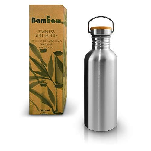 Bambaw Trinkflasche 1l Edelstahl   Langlebige Wasserflasche 1l  Wiederverwendbare öko Wasserflasche   Für Camping & Lagerfeuer   Trinkflasche Metall ohne Plastik   Sportflasche auslaufsicher