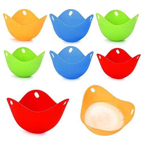 Uovo in Camicia Set, 8Pcs Stampo per Uova in Camicia, Tazze in Silicone per Cuocere le Uova, Fornello per Uova Adatti per Padella, Uovo Vaporiera, Forno a Microonde