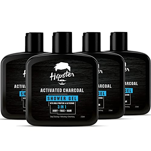 Hipster Men Body Wash Activated Charcoal shower Gel 1 litre | Bathing Combo Kit For Men | Activated Charcoal 3 in 1 Shower Gel for Body, Face & Hair | Germ Protection & Deep Cleansing | Bath Kit, 1000 ml