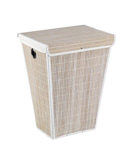 WENKO 22100100 Wäschetruhe Bamboo Weiß - konischer Wäschekorb, mit Wäschesack, Bambus, 45 x 60 x 33 cm