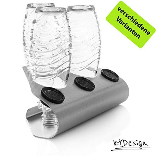 Premium SodaStream ECK-Abtropfhalter aus Edelstahl für 3 Flaschen – SodaStream Flaschenhalter mit Abtropfboden und Deckelhalterung für SodaStream Crystal, Emil- und Glasflaschen, Made in Germany