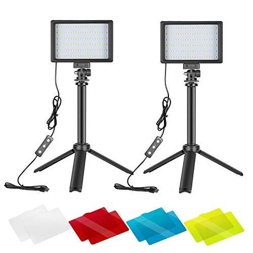 Neewer 2 Packs Portable Photography Lighting Kit Dimmable 5600K USB 66...