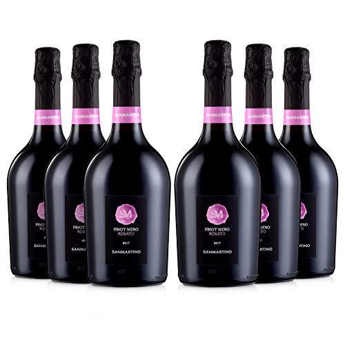 SAN MARTINO VINI Pinot Nero Rosato Spumante Brut, 6 Bottiglie di Vino Prosecco x 750 ml, Gusto Fresco e Fruttato, Perfetto Abbinato a Piatti di Pesce, Primi Piatti e Formaggi, 12,5% Vol