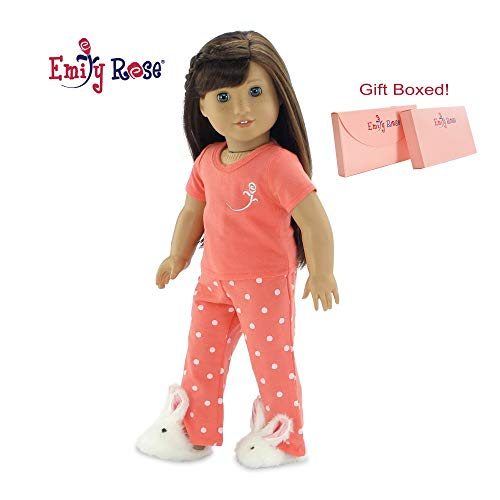 Emily Rose 18 Inch Doll Clothes for American Girl Dolls   18' Doll Pajamas PJs, Includes 18 Inch Doll Easter Bunny Slippers!   Gift Boxed!   Fits 18' American Girl Dolls