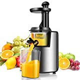 Costway Slow Masticating Juicer with Reverse Function, Cold Press Juicer Machine for Higher Nutrient Fruit and Vegetable Juice, 200W Stainless Steel Juicer Machine with Quiet Motor BPA-FREE
