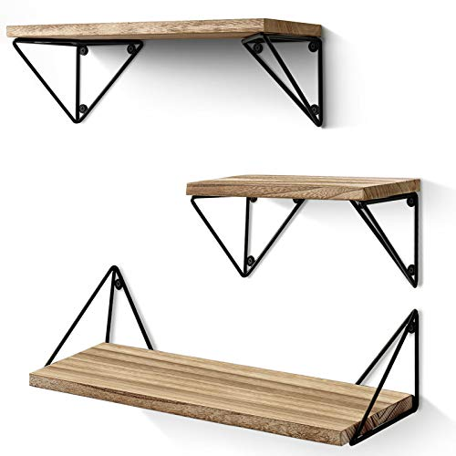 BAYKA Floating Mounted Set of 3 Rustic Wood Wall Shelves for...