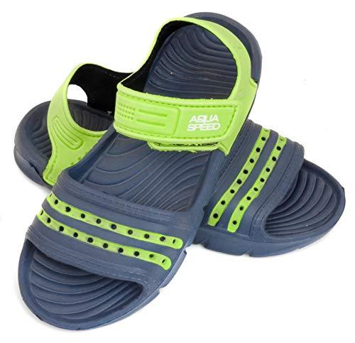 Aqua Speed Noli Unisex Kinder Bade-Schuhe mit Schlaufe | Dusch-Schuhe | Sommer | Latschen | Clogs | Sandalen | Kinder-Schuhe | Stand-Up-Paddel-Schuhe 33 Navy Blue/Green - 48