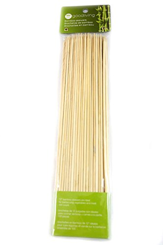 GOOD LIVING 12-Inch Bamboo Skewers for BBQ, Shrimp,